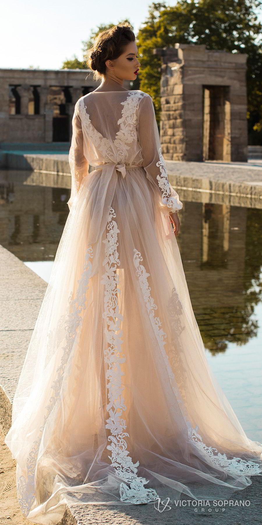 victoria soprano 2018 bridal long sleeves illuson bateau v neck light embellishment romantic blush color a  line wedding dress sheer back sweep train (leila) bv