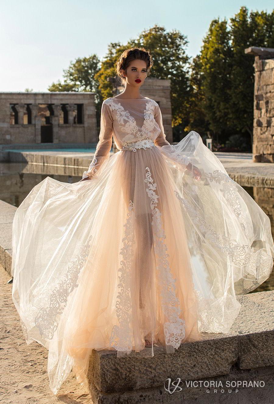 victoria soprano 2018 bridal long sleeves illuson bateau v neck light embellishment romantic blush color a  line wedding dress sheer back sweep train (leila) mv