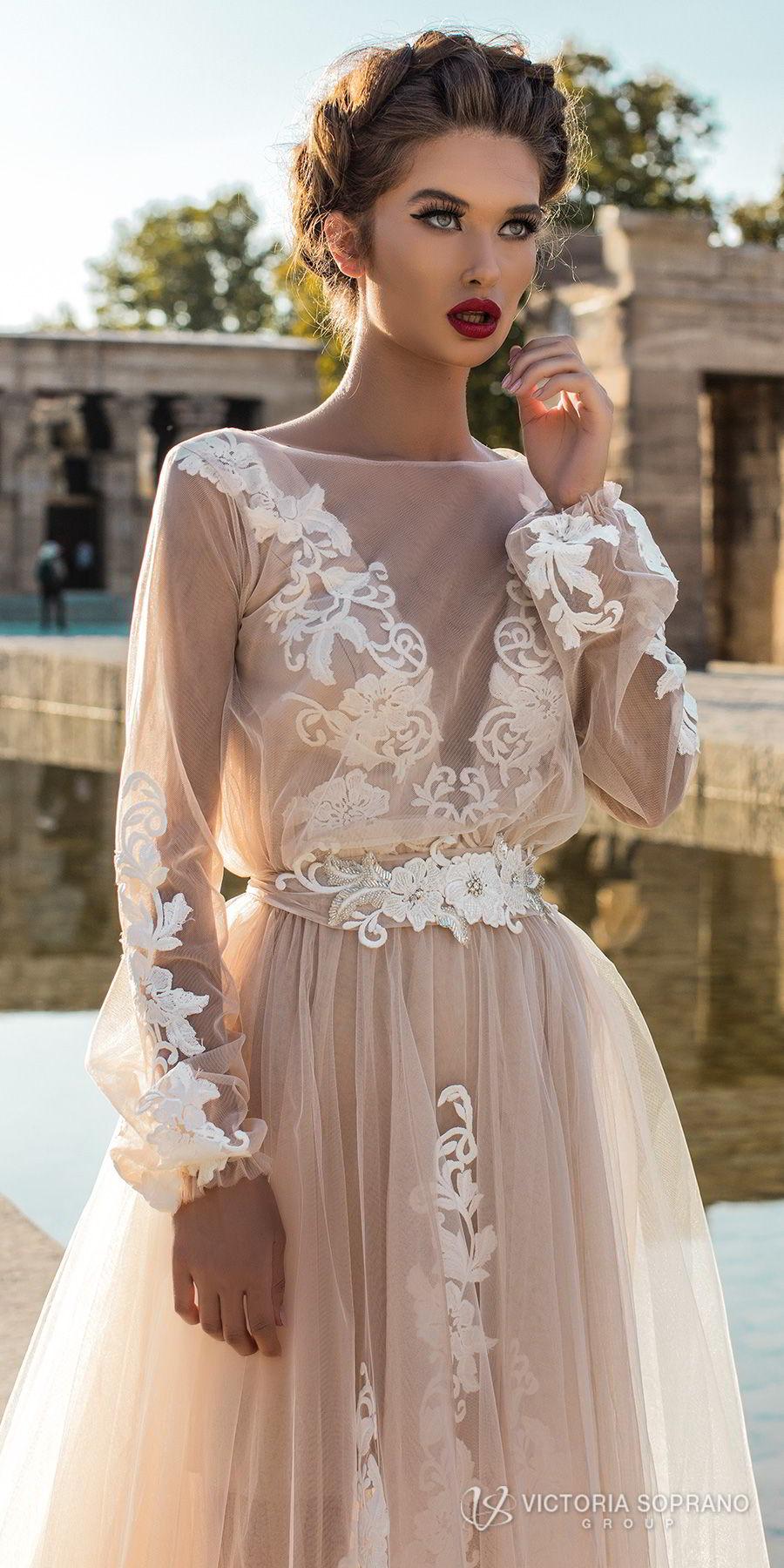 victoria soprano 2018 bridal long sleeves illuson bateau v neck light embellishment romantic blush color a  line wedding dress sheer back sweep train (leila) zv