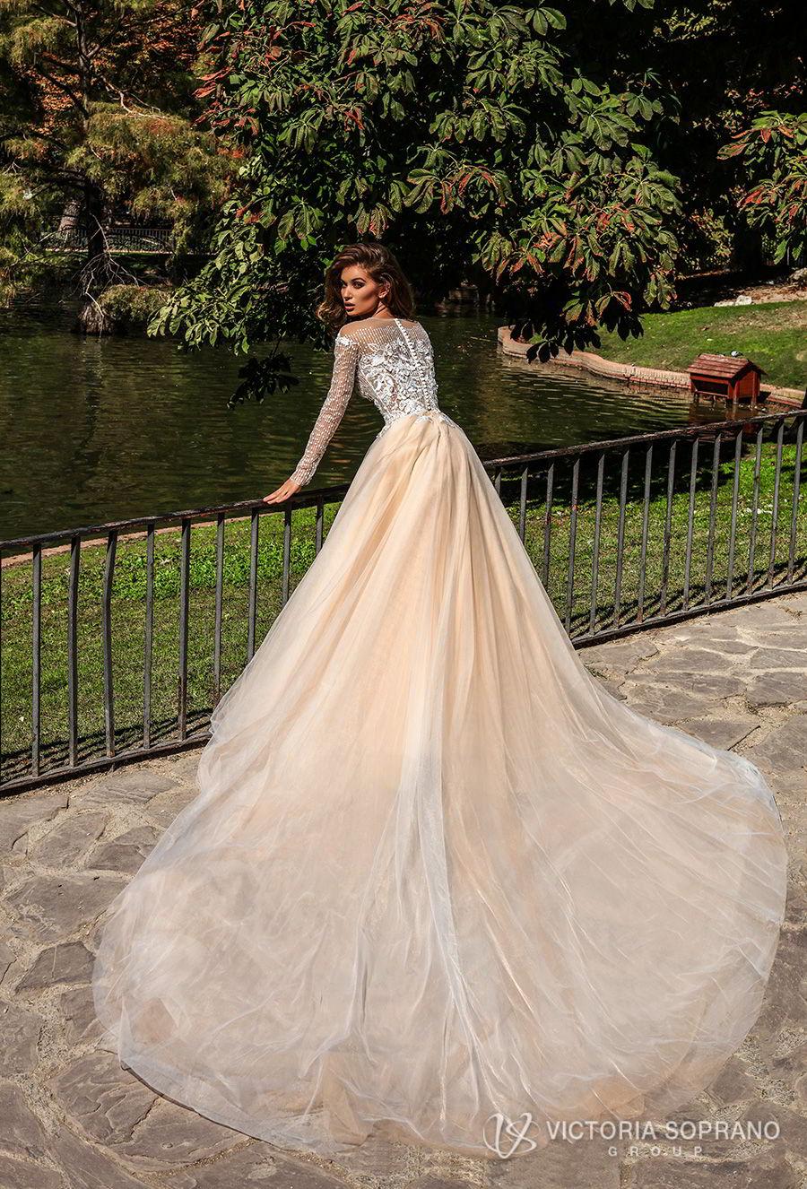 victoria soprano 2018 bridal long sleeves jewel neckline heavily embellished bodice romantic elegant blush color a  line wedding dress sheer lace back chapel train (mia) bv