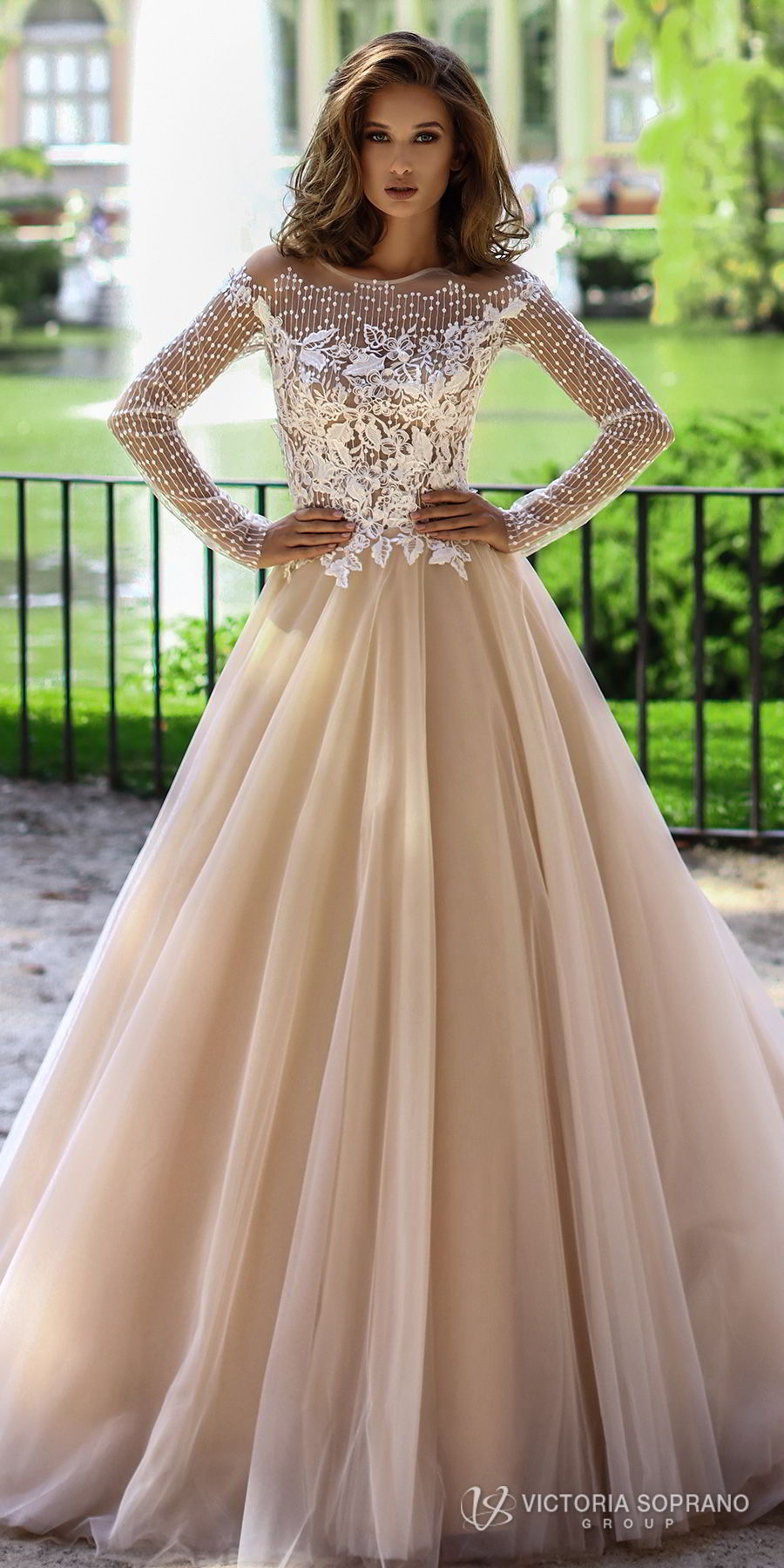 victoria soprano 2018 bridal long sleeves jewel neckline heavily embellished bodice romantic elegant blush color a  line wedding dress sheer lace back chapel train (mia) mv