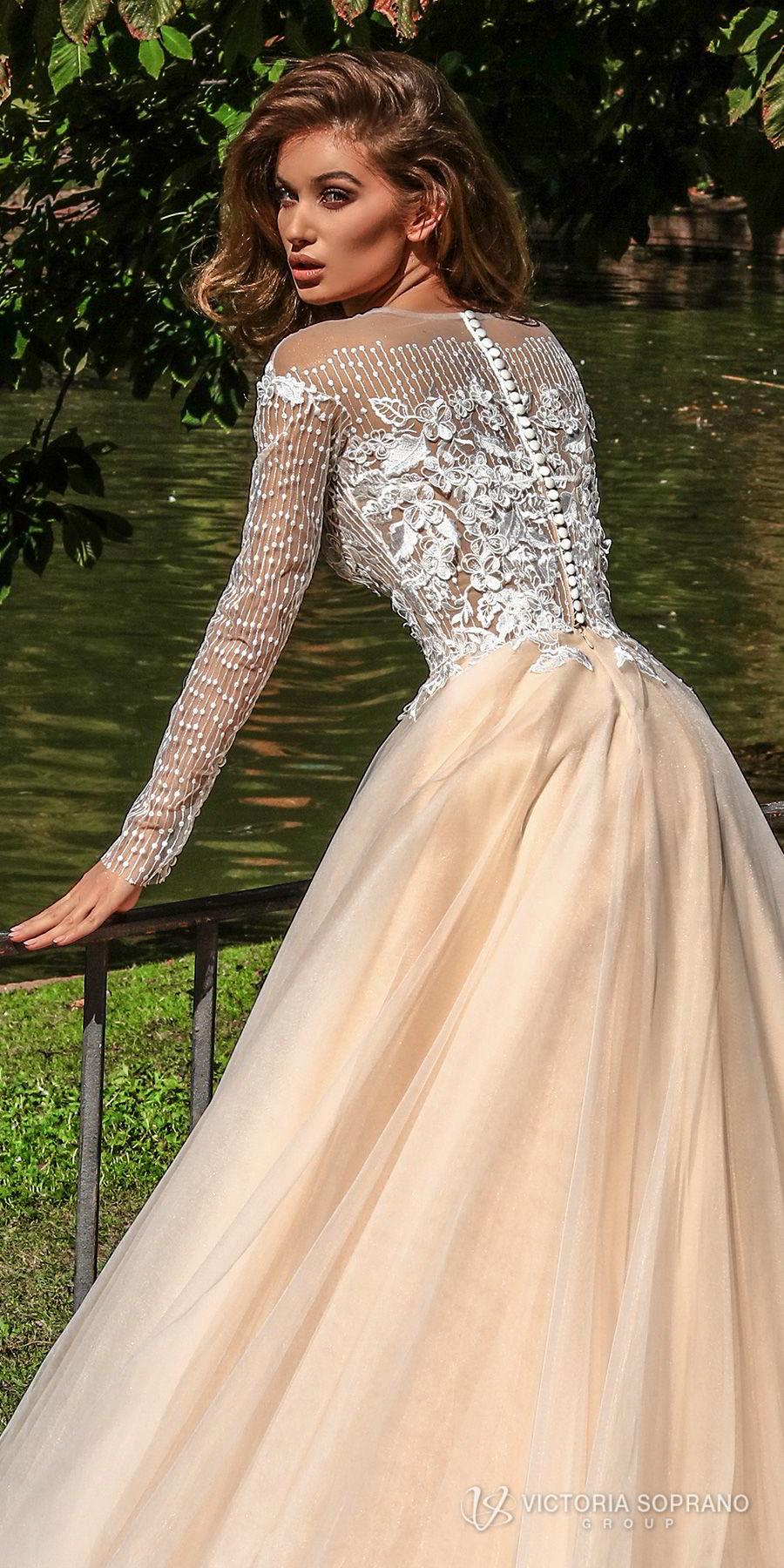 victoria soprano 2018 bridal long sleeves jewel neckline heavily embellished bodice romantic elegant blush color a  line wedding dress sheer lace back chapel train (mia) zbv