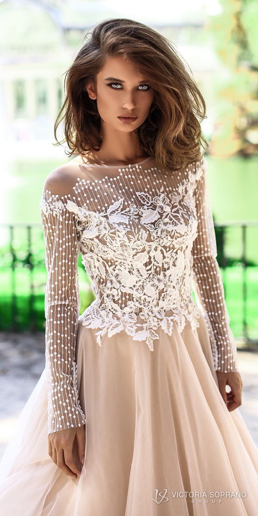 victoria soprano 2018 bridal long sleeves jewel neckline heavily embellished bodice romantic elegant blush color a  line wedding dress sheer lace back chapel train (mia) zv