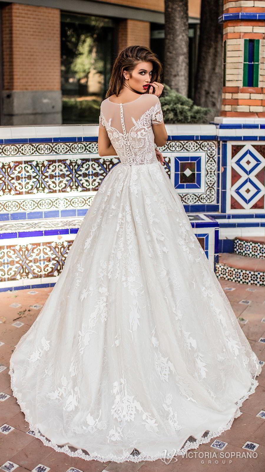 victoria soprano 2018 bridal short sleeves illusion jewel sweetheart neckline heavily embellished bodice romantic a  line wedding dress with pockets sheer lace back chapel train (vivian) bv