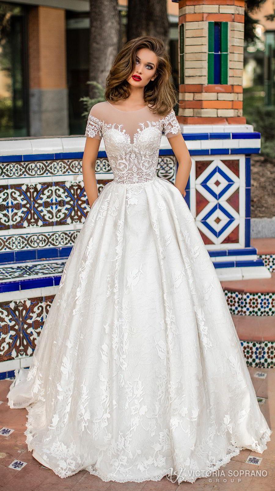 victoria soprano 2018 bridal short sleeves illusion jewel sweetheart neckline heavily embellished bodice romantic a  line wedding dress with pockets sheer lace back chapel train (vivian) mv