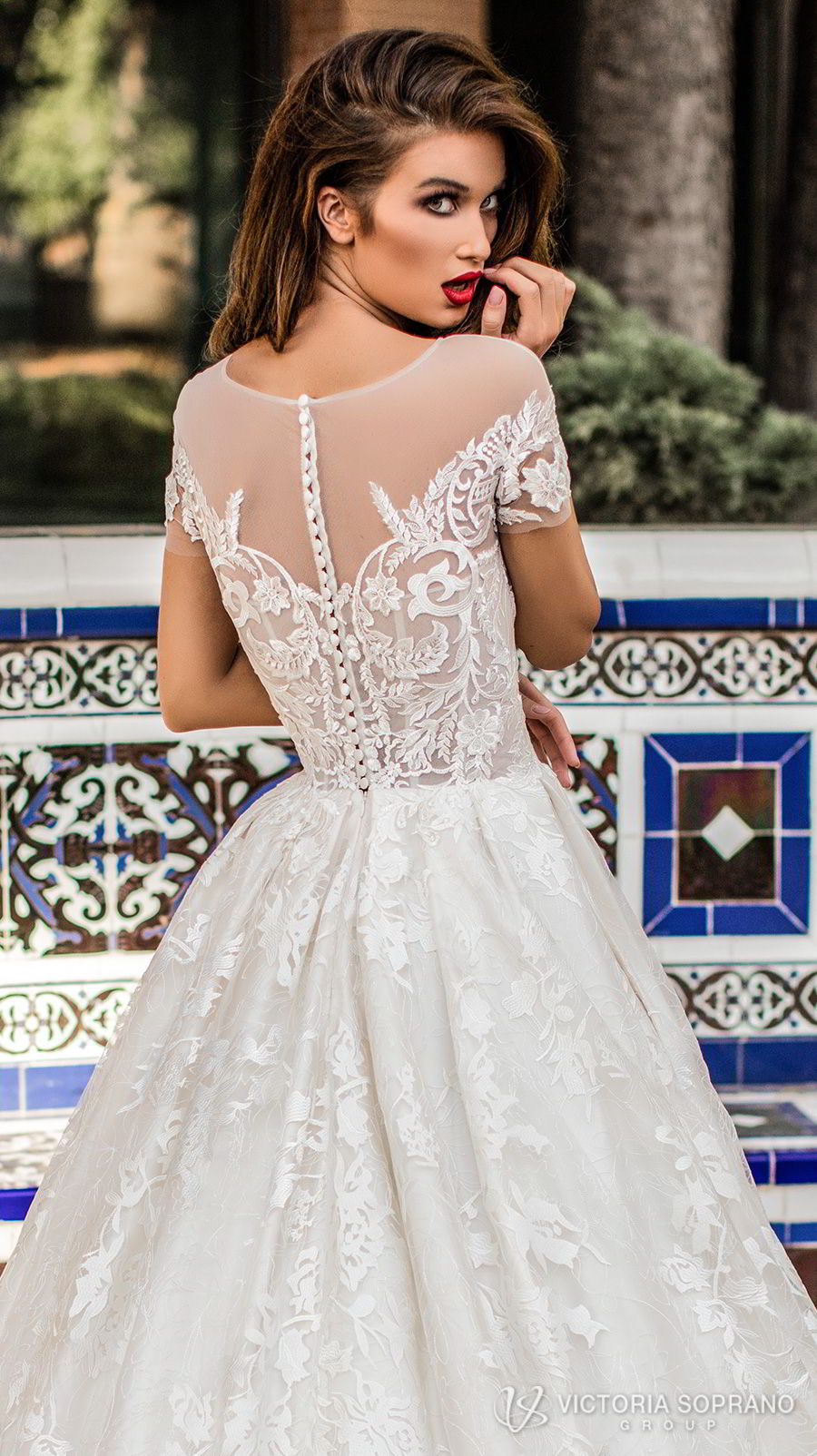 victoria soprano 2018 bridal short sleeves illusion jewel sweetheart neckline heavily embellished bodice romantic a  line wedding dress with pockets sheer lace back chapel train (vivian) zbv
