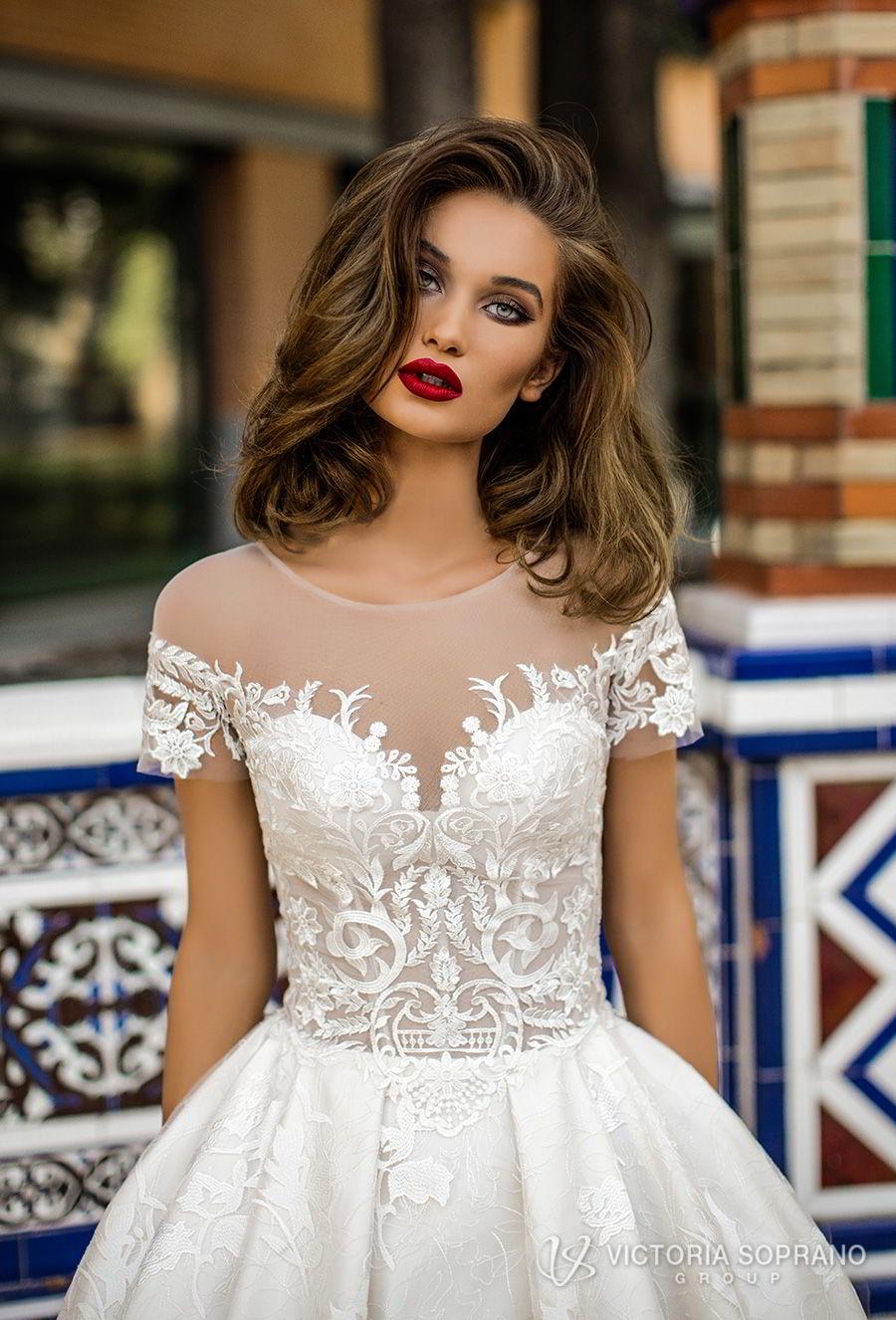 victoria soprano 2018 bridal short sleeves illusion jewel sweetheart neckline heavily embellished bodice romantic a  line wedding dress with pockets sheer lace back chapel train (vivian) zv