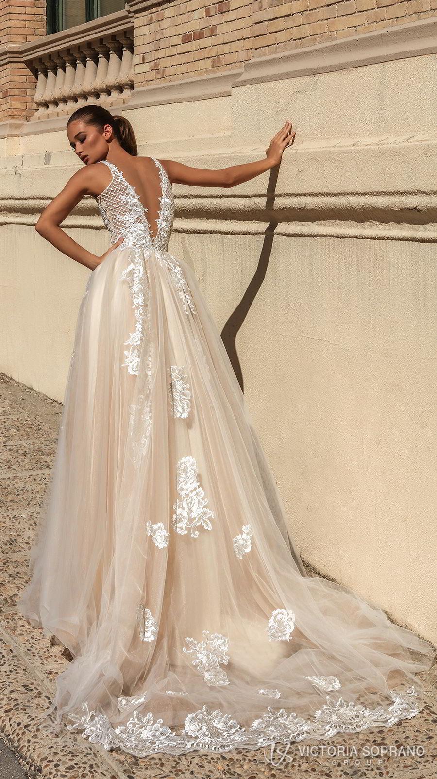 victoria soprano 2018 bridal sleeveless deep plunging v neck heavily embellished bodice romantic sexy champagne color a  line wedding dress open v back chapel train (bella) bv