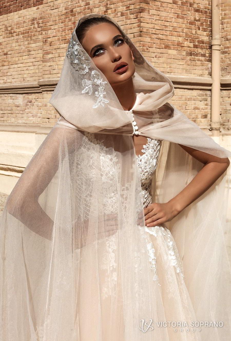 victoria soprano 2018 bridal sleeveless deep plunging v neck heavily embellished bodice romantic sexy champagne color a  line wedding dress open v back chapel train (bella) zv