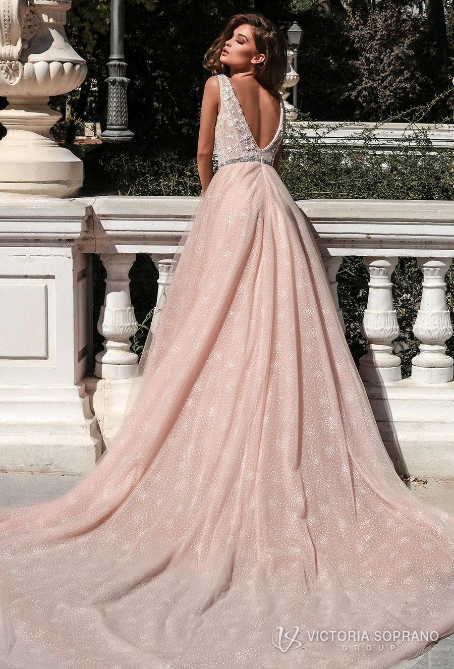 victoria soprano 2018 bridal sleeveless deep v neck heavily embellished bodice romantic pink a  line wedding dress open v back chapel train (selesta) bv
