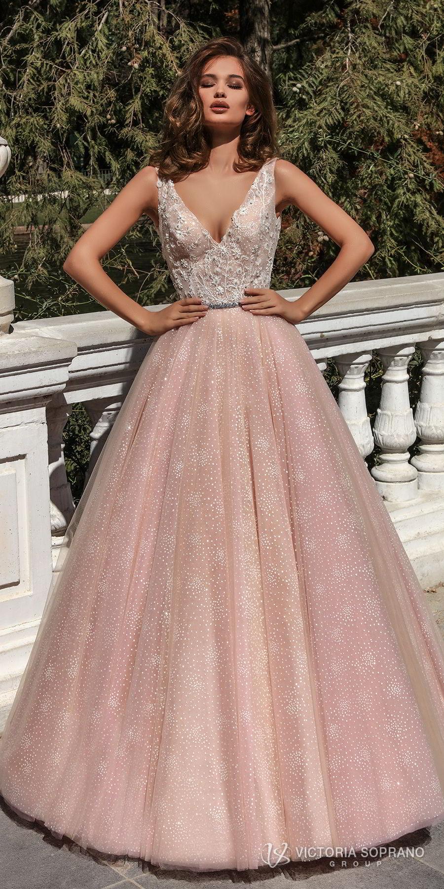 victoria soprano 2018 bridal sleeveless deep v neck heavily embellished bodice romantic pink a  line wedding dress open v back chapel train (selesta) mv