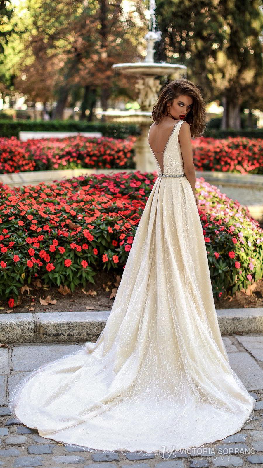 victoria soprano 2018 bridal sleeveless deep v neckline full embellishment elegant sexy champagne a  line wedding dress open v back chapel train (tiara) bv