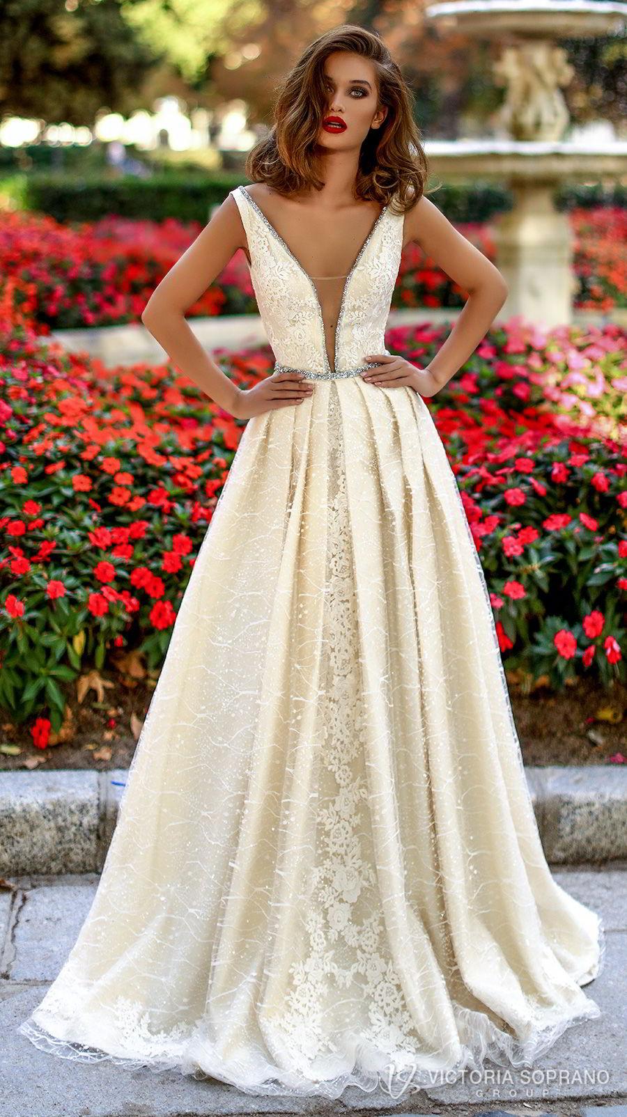 victoria soprano 2018 bridal sleeveless deep v neckline full embellishment elegant sexy champagne a  line wedding dress open v back chapel train (tiara) mv