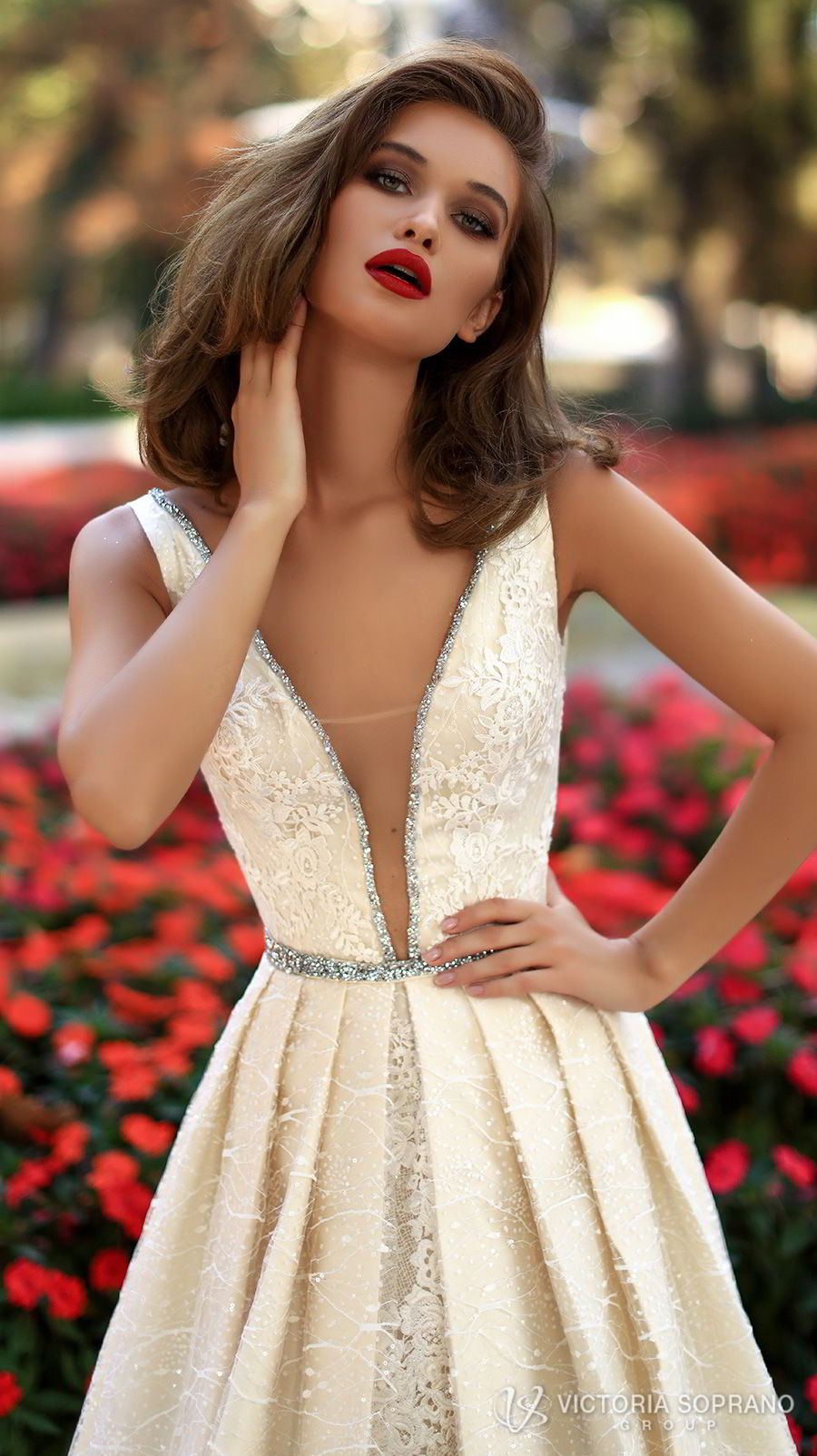 victoria soprano 2018 bridal sleeveless deep v neckline full embellishment elegant sexy champagne a  line wedding dress open v back chapel train (tiara) zv