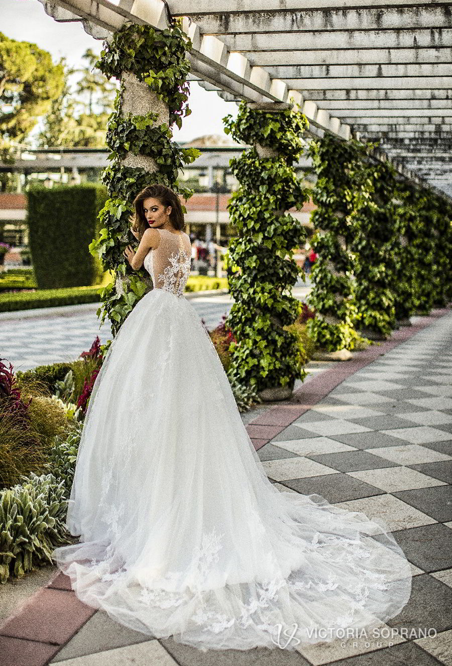 victoria soprano 2018 bridal sleeveless illusion jewel sweetheart neckline heavily embellished bodice romantic a  line wedding dress sheer lace back chapel train (lilou) bv