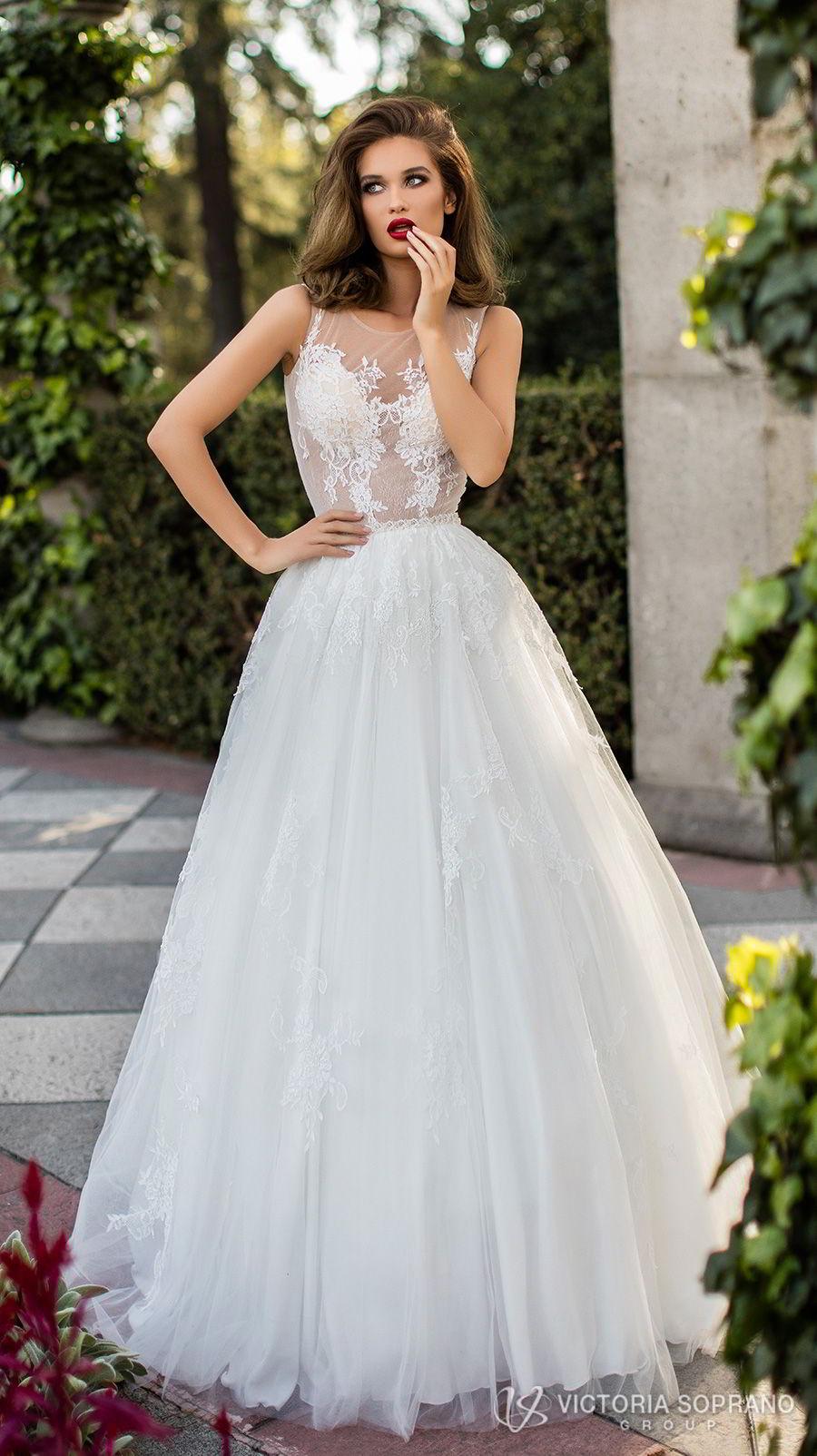 victoria soprano 2018 bridal sleeveless illusion jewel sweetheart neckline heavily embellished bodice romantic a  line wedding dress sheer lace back chapel train (lilou) mv