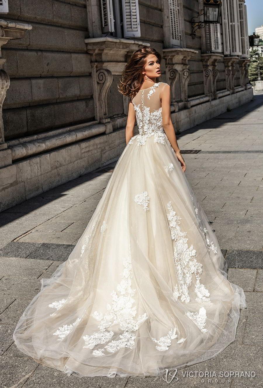 victoria soprano 2018 bridal sleeveless illusion jewel sweetheart neckline heavily embellished bodice romantic blush color a  line wedding dress sheer lace back chapel train (selena) bv