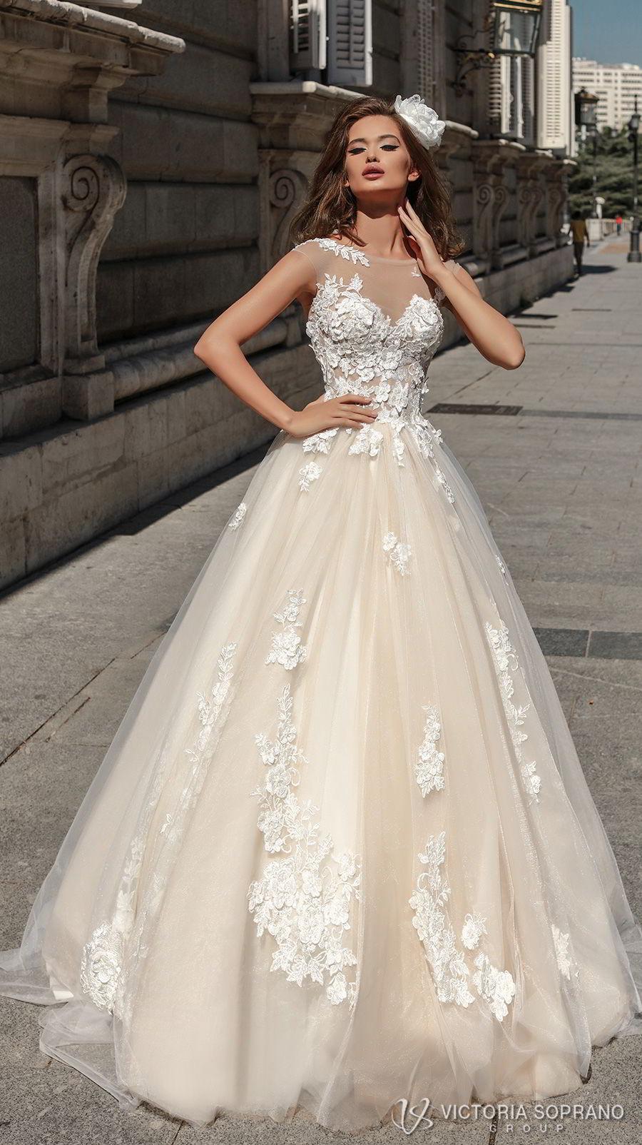 victoria soprano 2018 bridal sleeveless illusion jewel sweetheart neckline heavily embellished bodice romantic blush color a  line wedding dress sheer lace back chapel train (selena) mv