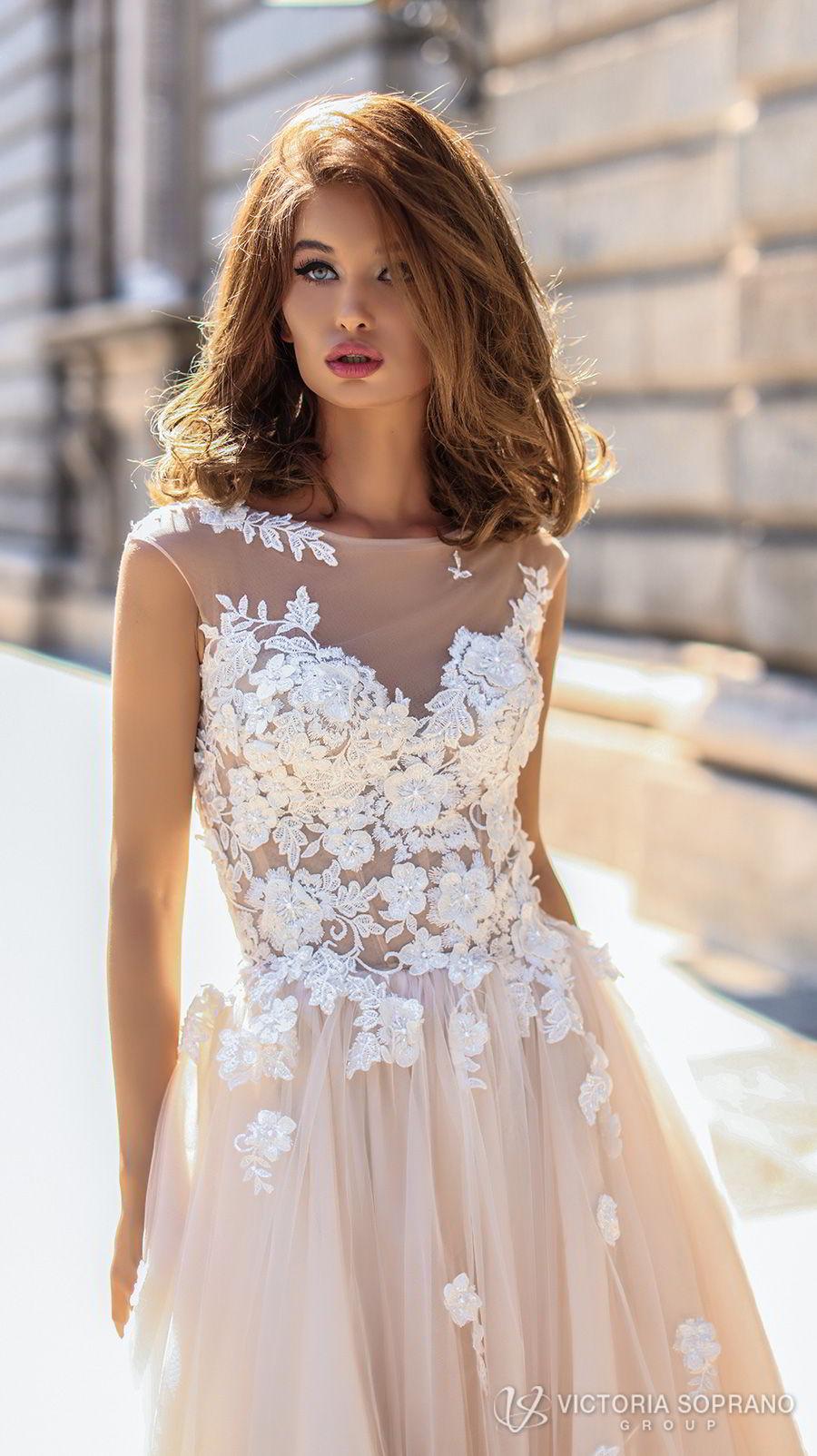 victoria soprano 2018 bridal sleeveless illusion jewel sweetheart neckline heavily embellished bodice romantic blush color a  line wedding dress sheer lace back chapel train (selena) zv