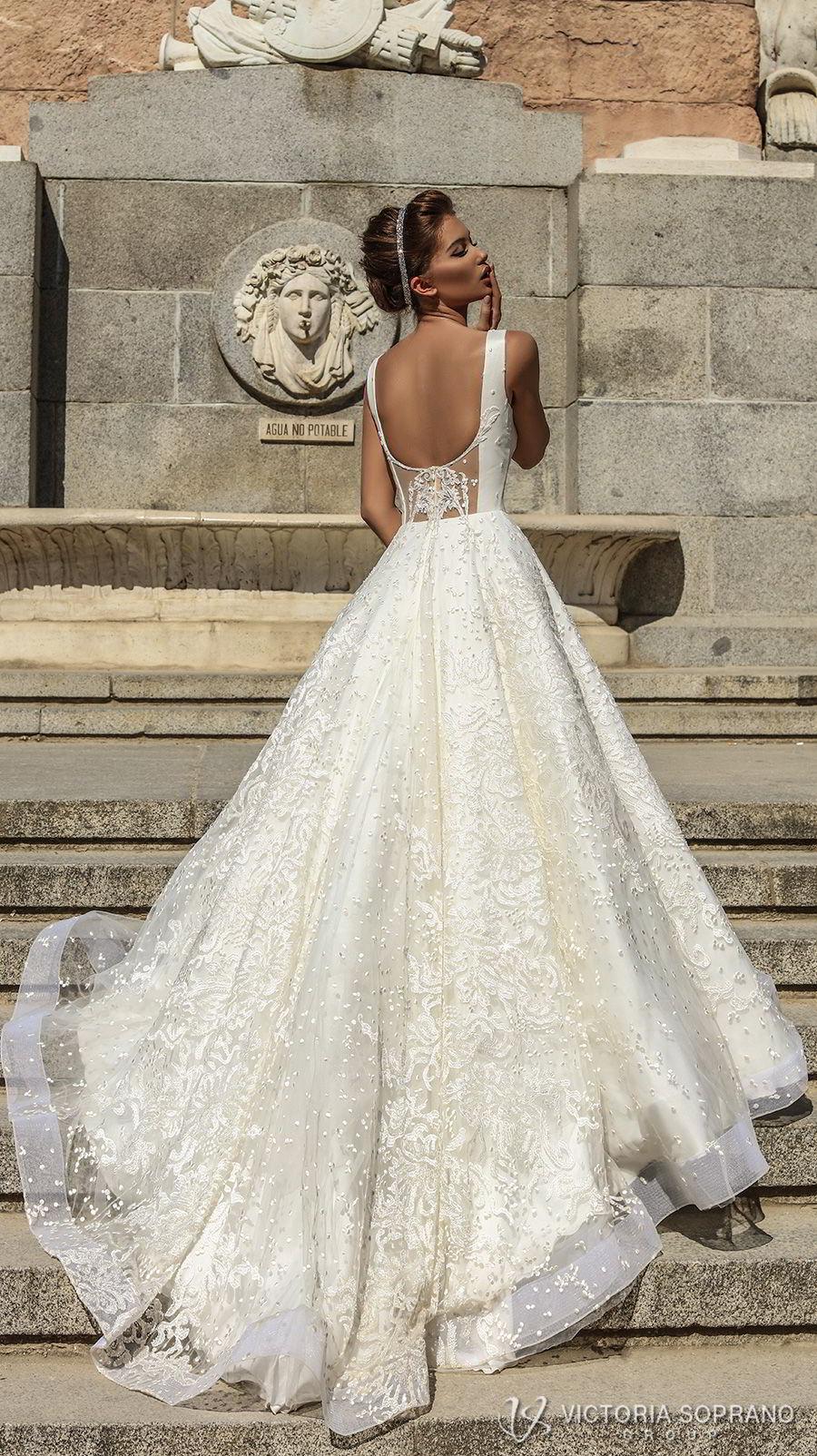 victoria soprano 2018 bridal sleeveless with strap square neckline full embellishment elegant a  line wedding dress open scoop back chapel train (stella) bv