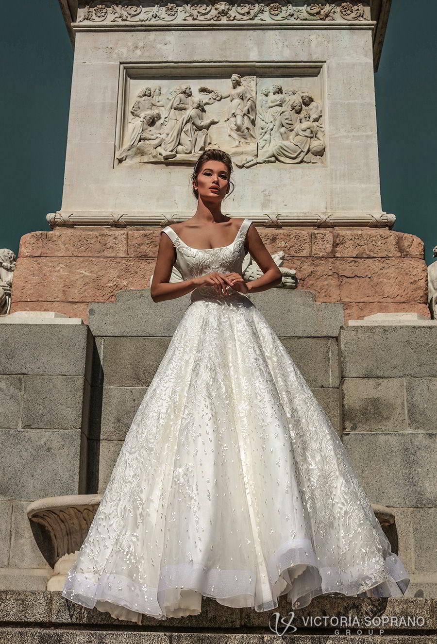 victoria soprano 2018 bridal sleeveless with strap square neckline full embellishment elegant a  line wedding dress open scoop back chapel train (stella) mv