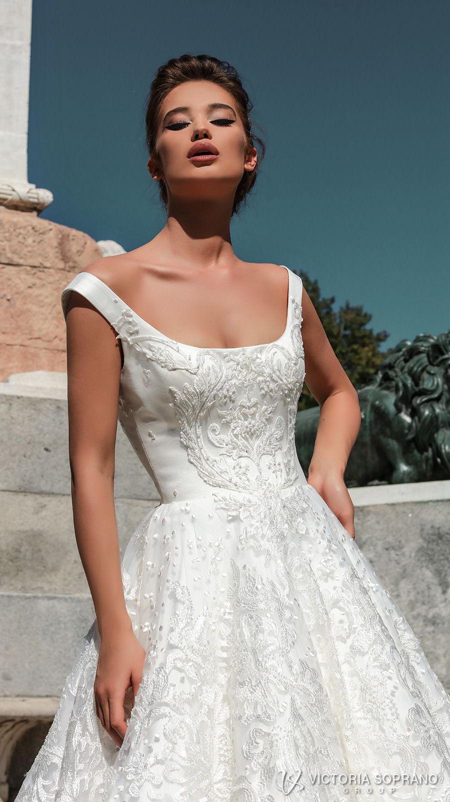 victoria soprano 2018 bridal sleeveless with strap square neckline full embellishment elegant a  line wedding dress open scoop back chapel train (stella) zv