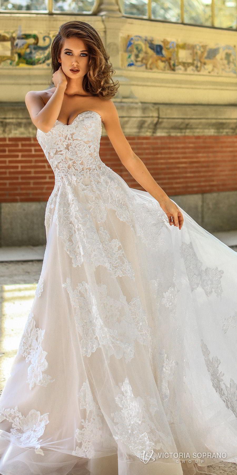 victoria soprano 2018 bridal strapless sweetheart neckline full embellishment romantic a  line wedding dress chapel train (hanna) mv