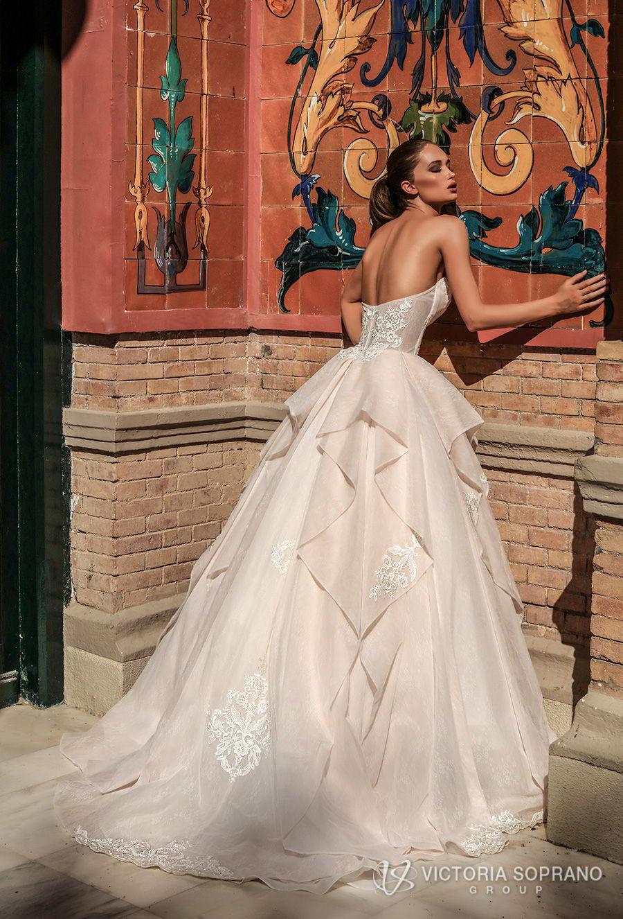 victoria soprano 2018 bridal strapless sweetheart neckline heavily embellished bodice romantic princess blush ball gown a  line wedding dress chapel train (chantal) bv