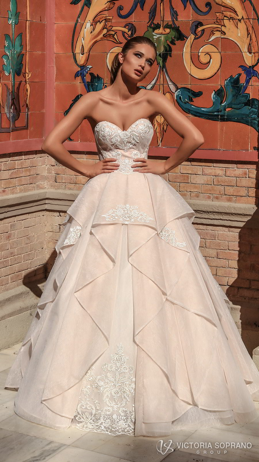 victoria soprano 2018 bridal strapless sweetheart neckline heavily embellished bodice romantic princess blush ball gown a  line wedding dress chapel train (chantal) mv