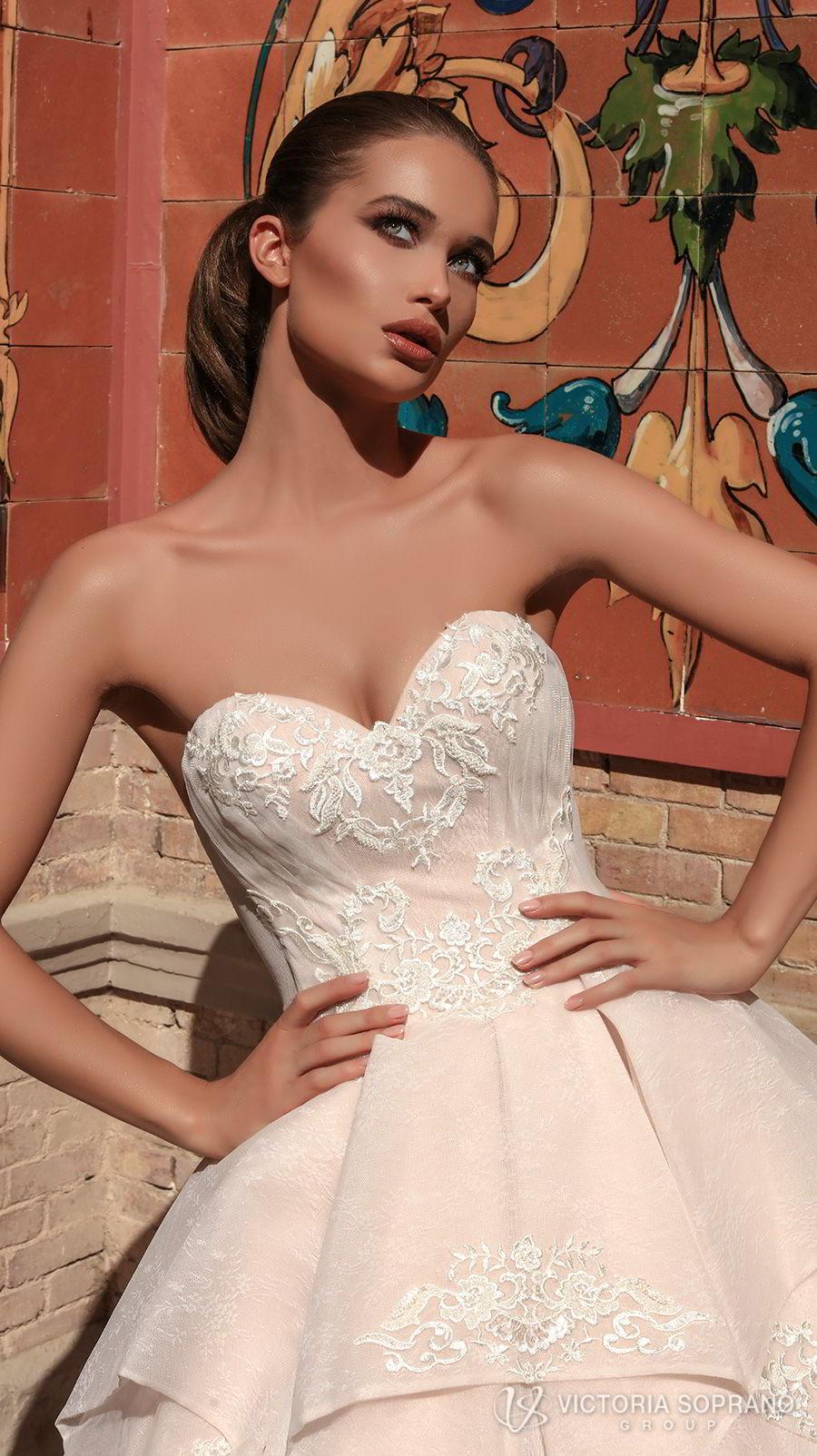 victoria soprano 2018 bridal strapless sweetheart neckline heavily embellished bodice romantic princess blush ball gown a  line wedding dress chapel train (chantal) zv