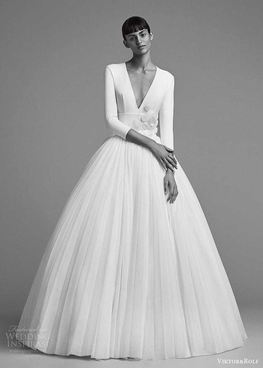 viktor and rolf fall 2018 bridal long sleeves deep v neck embellished waist ball gown wedding dress (22) mv elegant romantic modern minimal