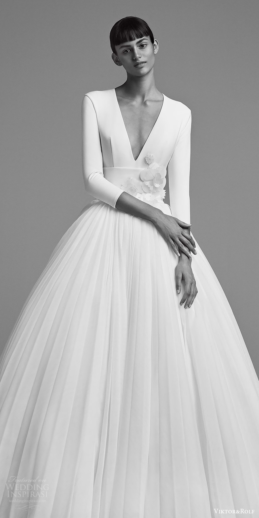 viktor and rolf fall 2018 bridal long sleeves deep v neck embellished waist ball gown wedding dress (22) zv elegant romantic modern minimal