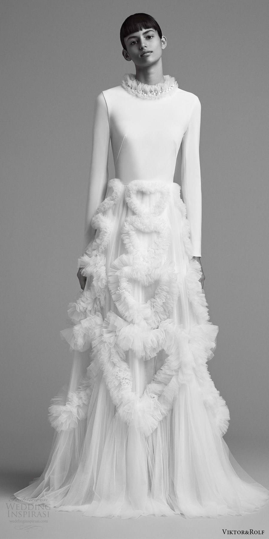 viktor and rolf fall 2018 bridal long sleeves high neck clean bodice a line wedding dress (5) mv embellished skirt modern