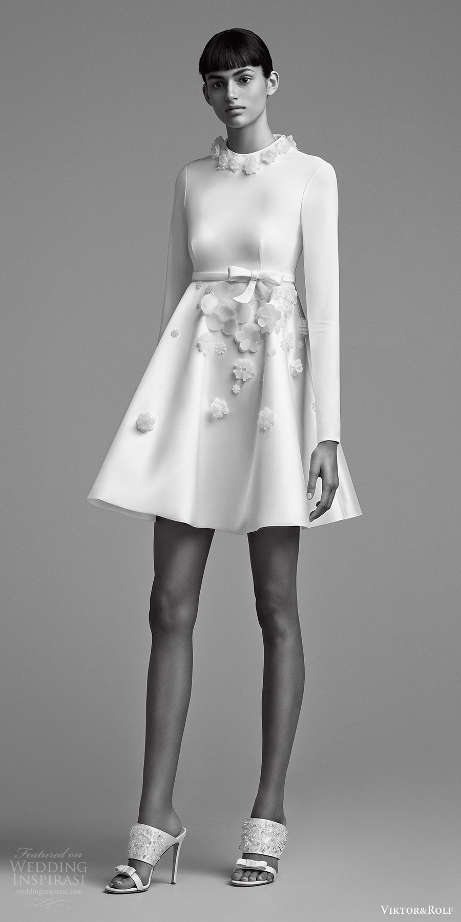 viktor and rolf fall 2018 bridal long sleeves jewel neck short skirt wedding dress (19) mv modern chic