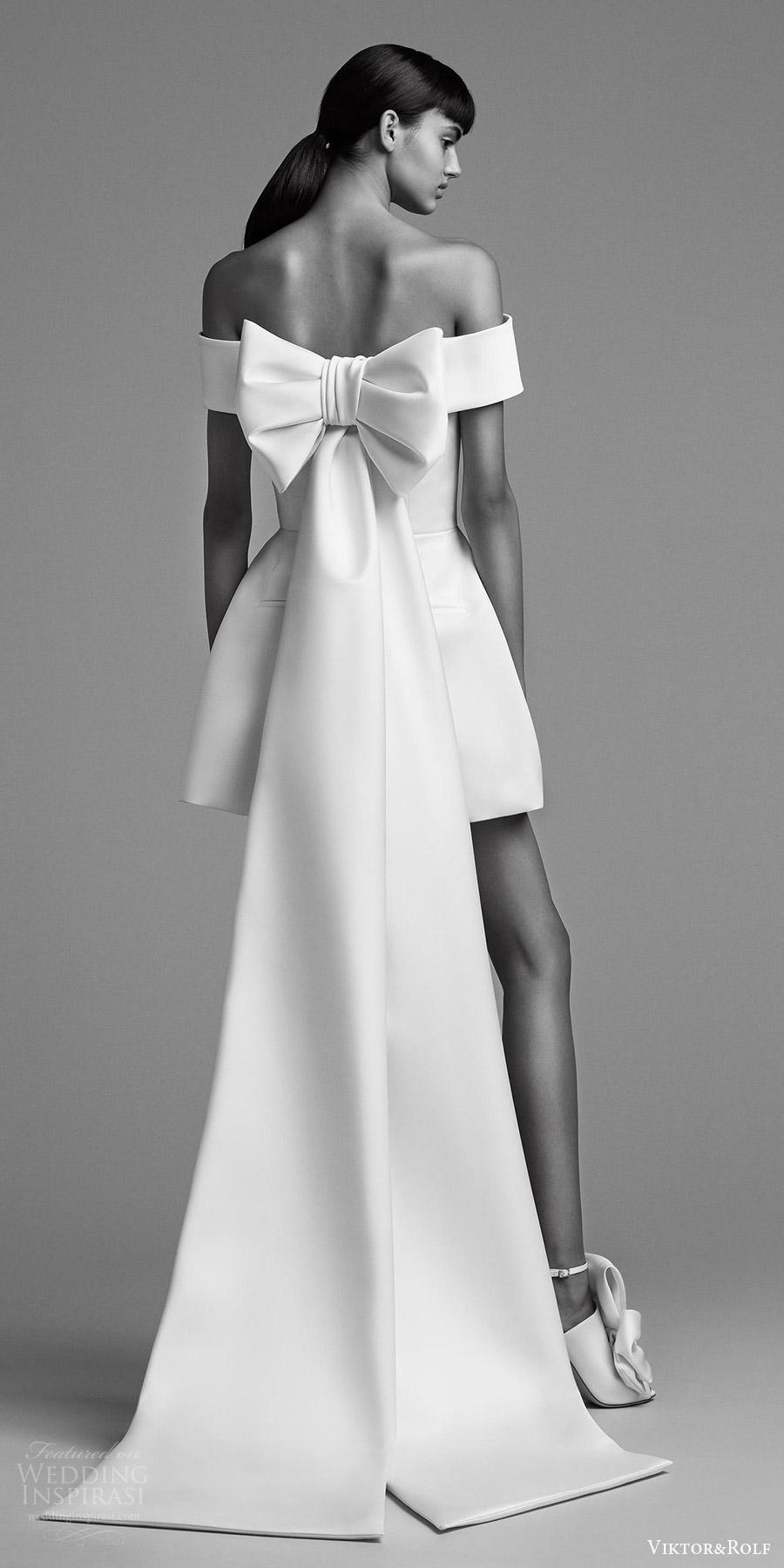 viktor and rolf fall 2018 bridal off shoulder mini pantsuit (20) bv bow back train modern chic
