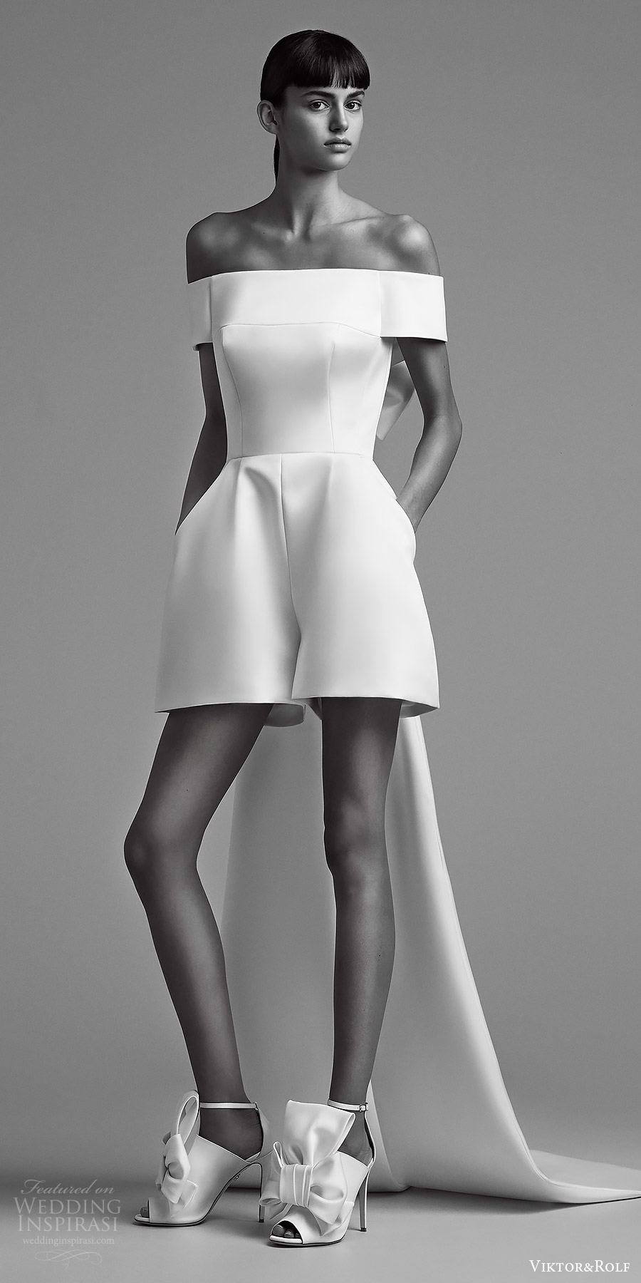 viktor and rolf fall 2018 bridal off shoulder mini pantsuit (20) mv bow back train modern chic