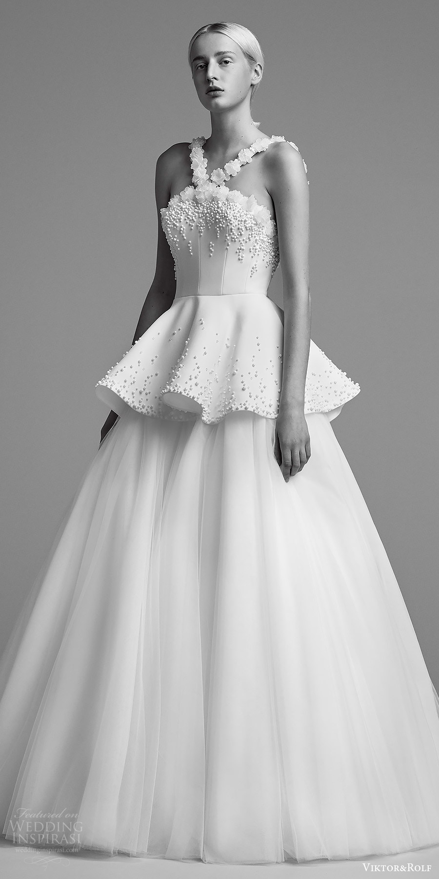 viktor and rolf fall 2018 bridal sleeveless halter straps embellished bodice tiered skirt aball gown wedding dress (23) mv romantic modern