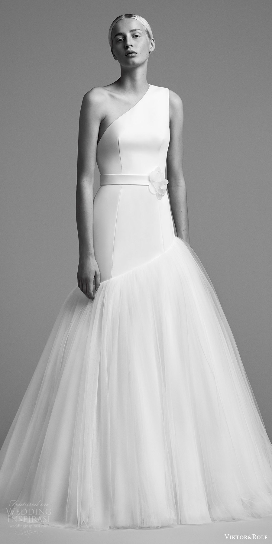 viktor and rolf fall 2018 bridal sleeveless one shoulder drop waist ball gown wedding dress (6) mv clean modern