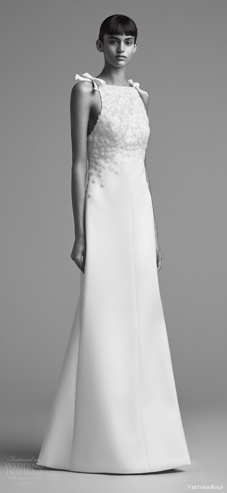 viktor and rolf fall 2018 bridal sleeveless tie straps high neck beaded bodice a line wedding dress (2) mv