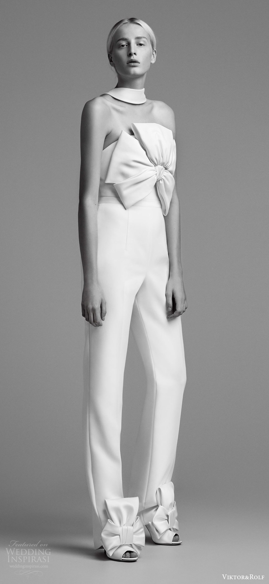 viktor and rolf fall 2018 bridal strapless jumpsuit bow bodice (1) mv modern minimal