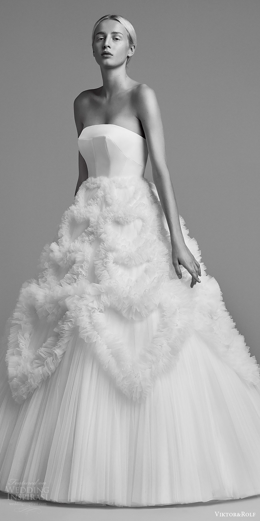 viktor and rolf fall 2018 bridal strapless straight across ball gown wedding dress (3) mv romantic modern minimal