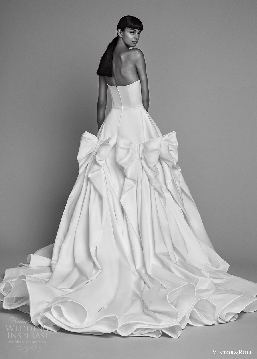 viktor and rolf fall 2018 bridal strapless straight across ball gown wedding dress (9) bv romantic modern chapel train