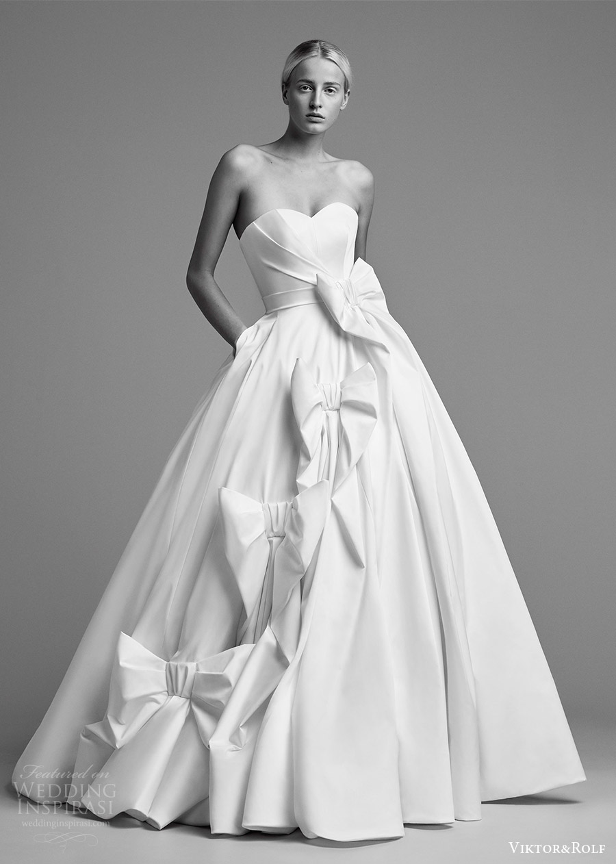 viktor and rolf fall 2018 bridal strapless sweetheart ball gown wedding dress embellished skirt (9) mv romantic modern