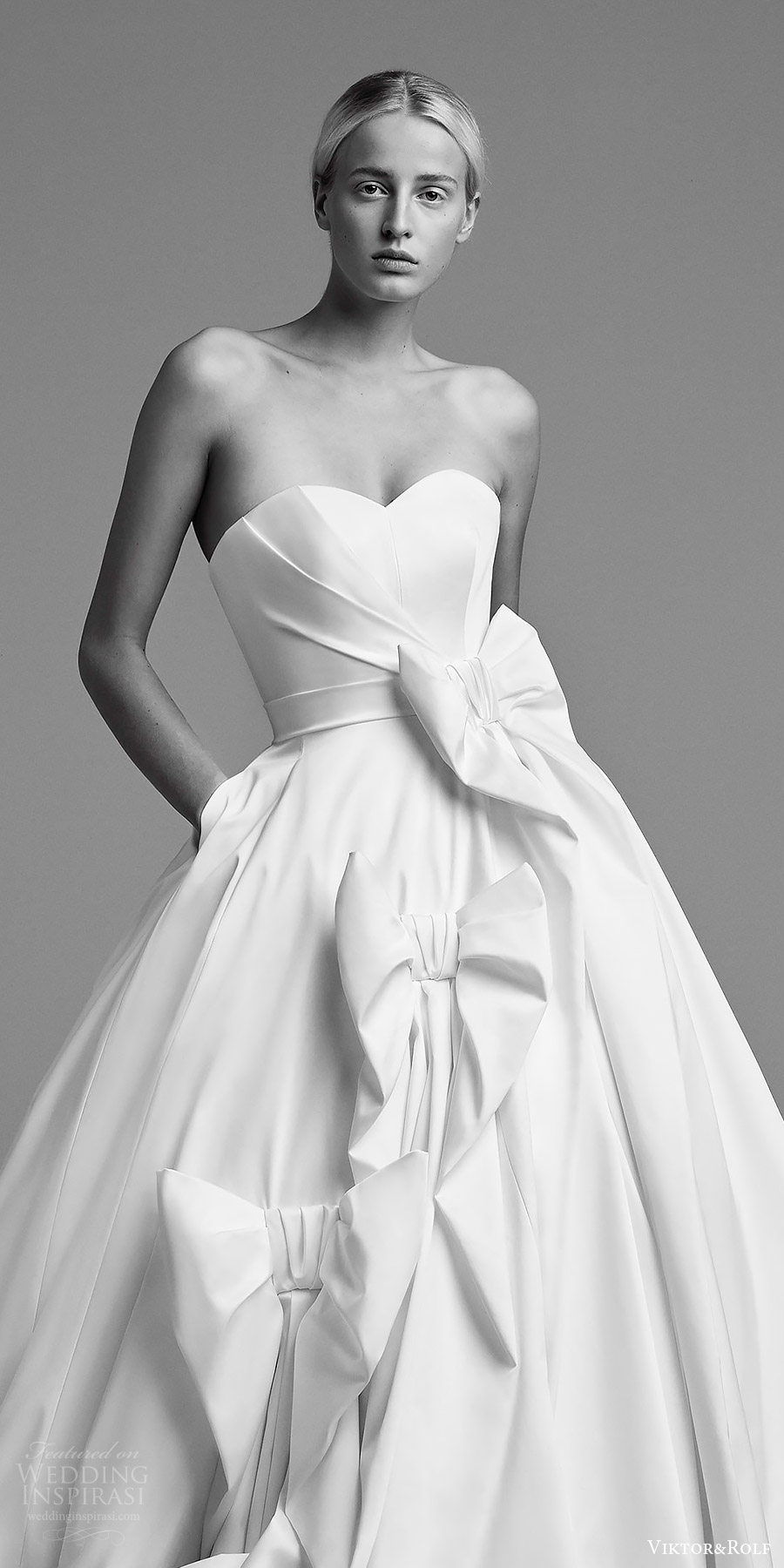 viktor and rolf fall 2018 bridal strapless sweetheart ball gown wedding dress embellished skirt (9) zv romantic modern