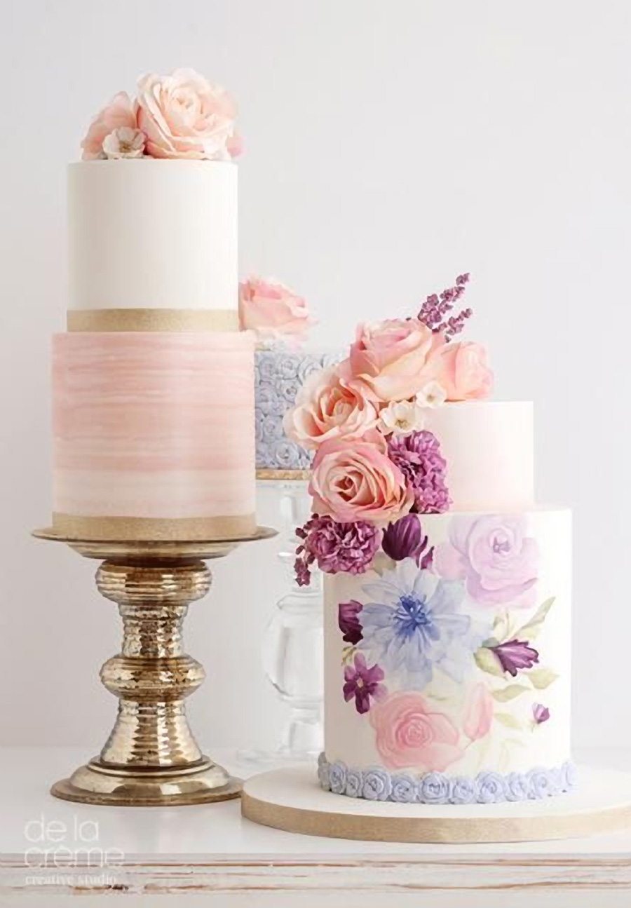 white 2 tier pink purple floral wedding cake (16) mv