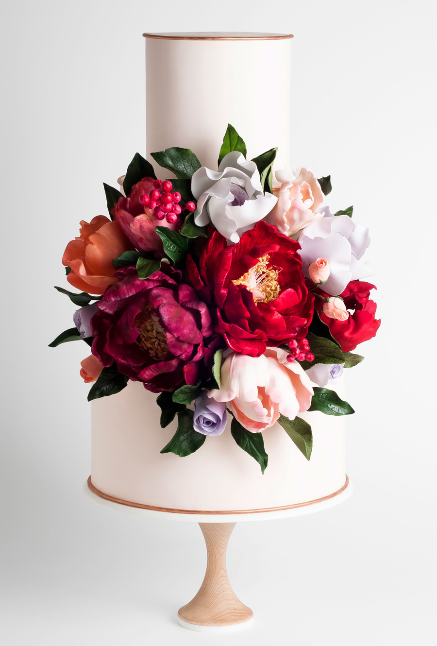 white 2 tier red floral wedding cake (5) mv