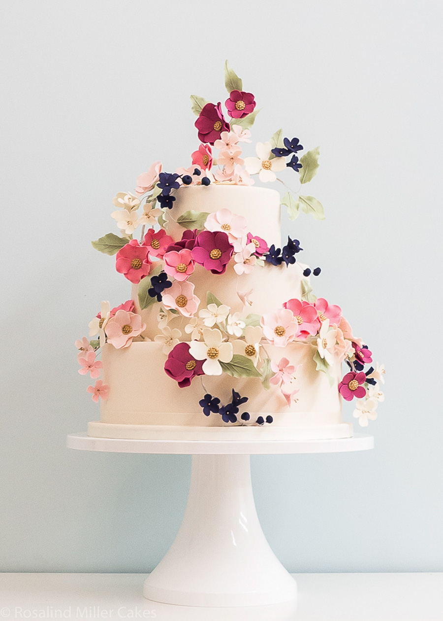 white 3 tier pink red floral wedding cake (7) mv
