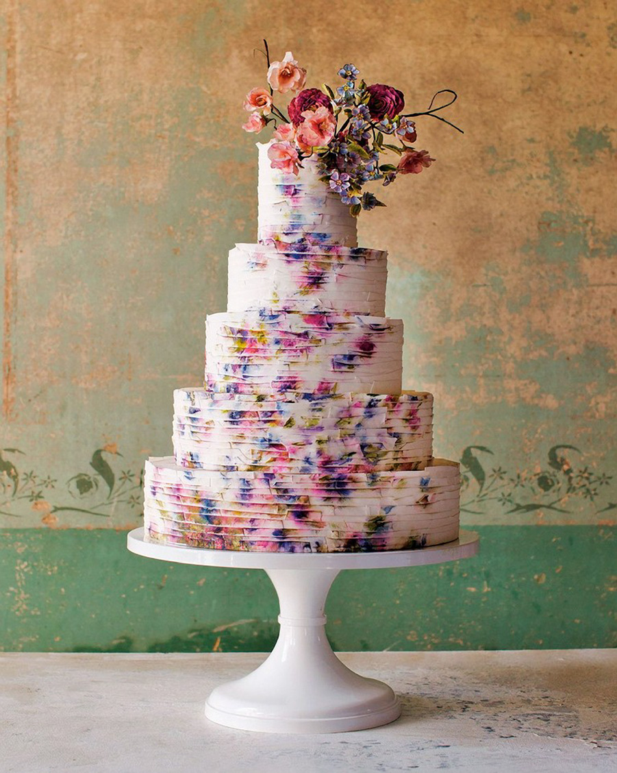 white 5 tier purple blue floral print wedding cake (18) mv