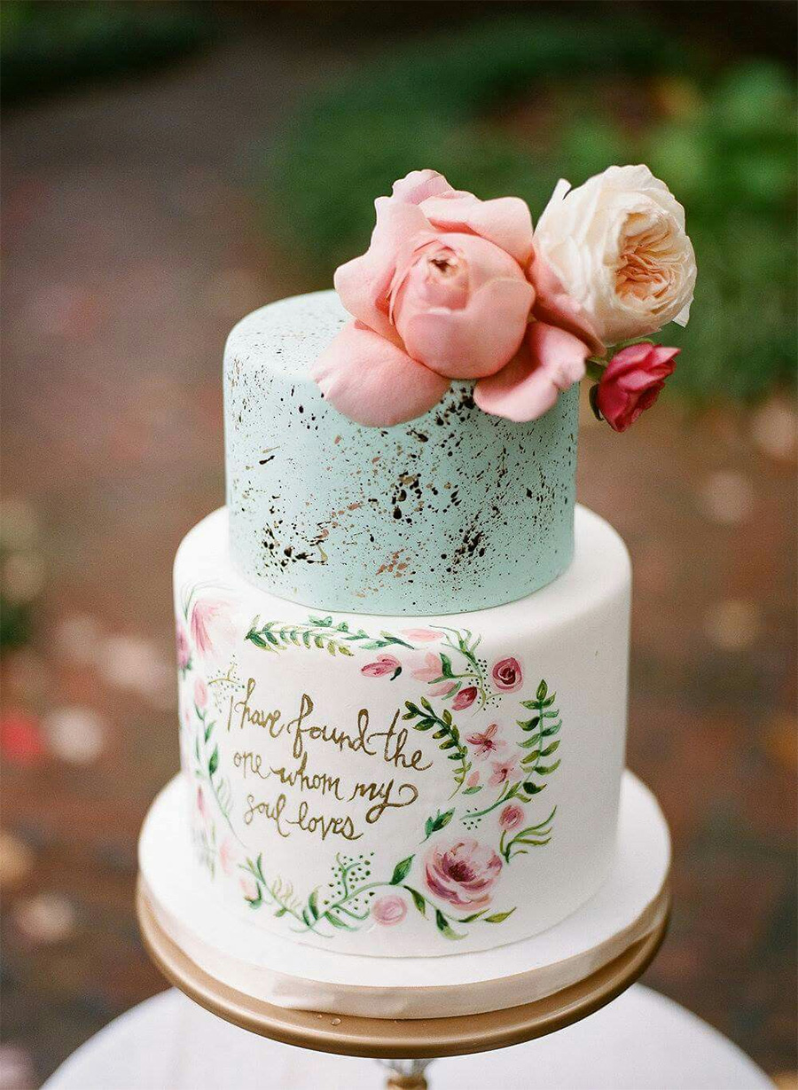white cyan 2 tiere pink floral wedding cake (8) mv