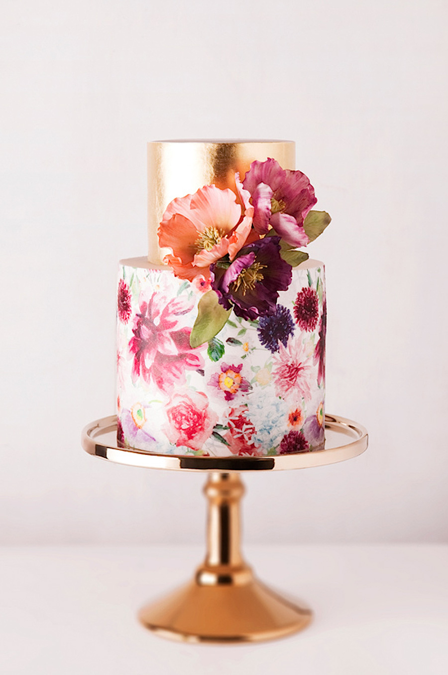 white gold 2 tier multi color floral print wedding cake (17) mv
